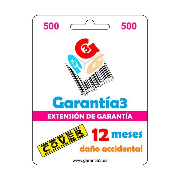 Garantía 3 garantía por rotura y daño accidental de 1 año con cobertura de hasta 500€