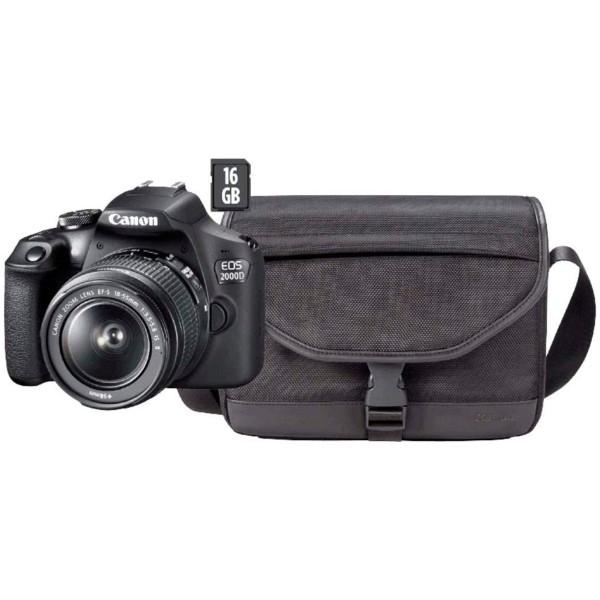 Canon eos 2000d kit cámara réflex 24,1mp wifi nfc + objetivo 18-55is + bolsa sb130 + sd 16gb