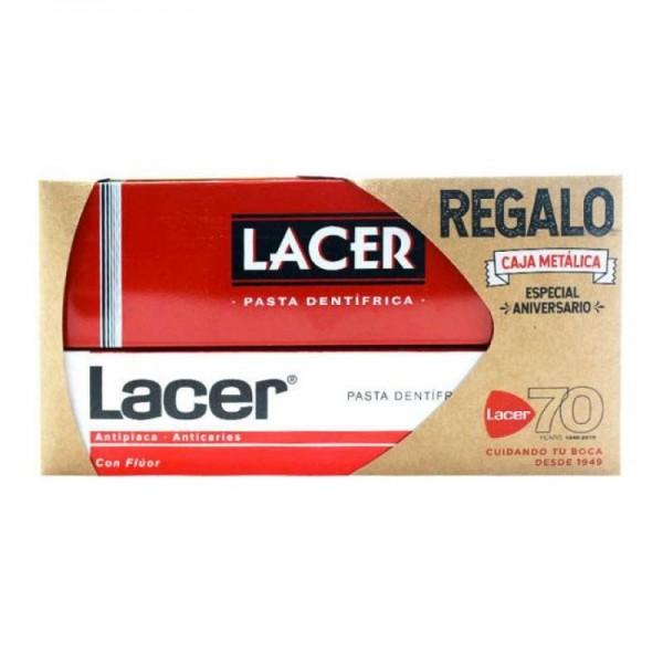 LACER PASTA DENTAL CON FLUOR 125 ML + REGALO CAJA METALICA PROMO